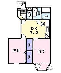 ペルリエールC[1階]の間取り