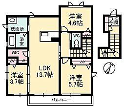広島県安芸郡熊野町出来庭7の賃貸アパートの間取り