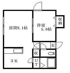 北海道札幌市豊平区月寒西一条4丁目の賃貸マンションの間取り