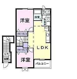 茨城県土浦市永国の賃貸アパートの間取り