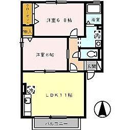シャルムコート B棟[1階]の間取り