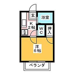 フローレンス富岡  B 1階1Kの間取り