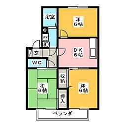 ガーデンコートK B[2階]の間取り