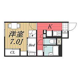千葉県成田市江弁須の賃貸アパートの間取り