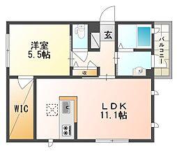 岡山県倉敷市鶴形2丁目の賃貸アパートの間取り
