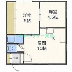 北海道札幌市東区北三十七条東18の賃貸アパートの間取り