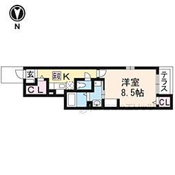 京都市営烏丸線 くいな橋駅 徒歩10分の賃貸アパート 1階1Kの間取り