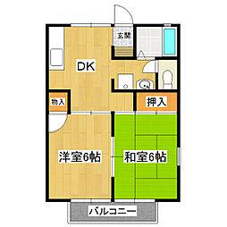 桂コーポ小岩田[2階]の間取り