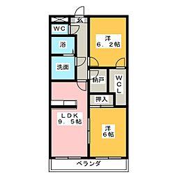 コートボナール鶴里[3階]の間取り