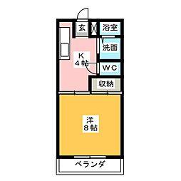 コーポKUIKE[3階]の間取り
