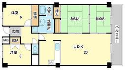 兵庫県姫路市東辻井3丁目の賃貸マンションの間取り