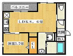 アムール姫島[105号室]の間取り