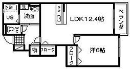 大阪府岸和田市尾生町3丁目の賃貸アパートの間取り