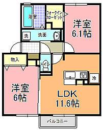 仮)D−room寄井 K[203号室]の間取り