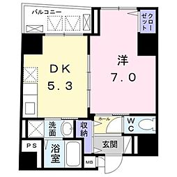 東京メトロ銀座線 末広町駅 徒歩5分の賃貸マンション 4階1DKの間取り