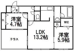 北海道札幌市豊平区平岸四条8丁目の賃貸マンションの間取り