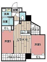 LE GRAND BLEU HAKATA 8階2LDKの間取り