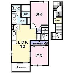 ベルデュールI[2階]の間取り