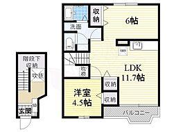 南海高野線 北野田駅 徒歩20分の賃貸アパート 2階2LDKの間取り