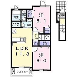 広島県東広島市鏡山3丁目の賃貸アパートの間取り