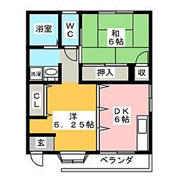 フローラルガーデン A棟[1階]の間取り