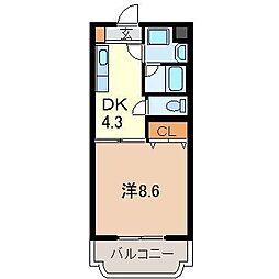 静岡県裾野市富沢の賃貸マンションの間取り