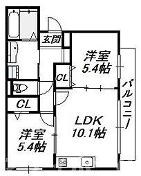 [テラスハウス] 大阪府大阪市生野区林寺2丁目 の賃貸【/】の間取り