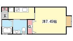 兵庫県神戸市灘区篠原南町3丁目の賃貸アパートの間取り