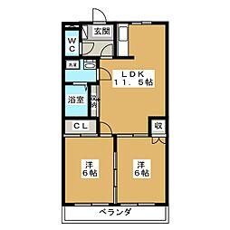 愛知県日進市岩崎台4丁目の賃貸アパートの間取り