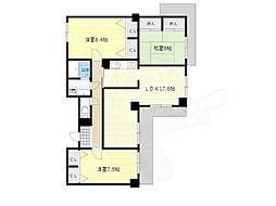 阪急千里線 北千里駅 徒歩17分の賃貸マンション 5階3LDKの間取り