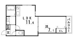 兵庫県神戸市兵庫区神明町の賃貸アパートの間取り