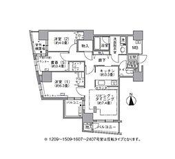 都営大江戸線 汐留駅 徒歩4分の賃貸マンション 16階2SLDKの間取り