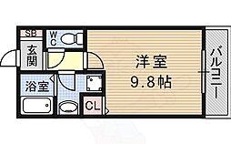レジデンスKU 3階ワンルームの間取り