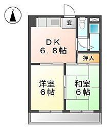 愛知県清須市西枇杷島町片町の賃貸マンションの間取り