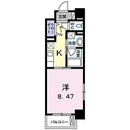 クラール花ノ宮(マンション) 8階1Kの間取り