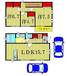 [一戸建] 東京都葛飾区新宿1丁目 の賃貸【/】の間取り