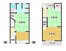 Osaka Metro四つ橋線 岸里駅 徒歩9分 3Kの間取り