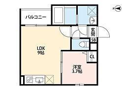 近鉄南大阪線 針中野駅 徒歩11分の賃貸アパート 2階1LDKの間取り