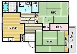 大阪府高槻市川添2丁目の賃貸アパートの間取り