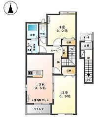 群馬県太田市西新町の賃貸アパートの間取り