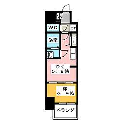 プレサンスジェネ新栄町駅前葵 2階1DKの間取り