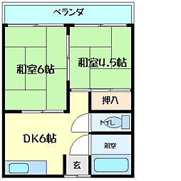 兵庫県明石市松の内1丁目の賃貸アパートの間取り