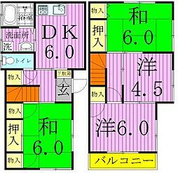 [タウンハウス] 東京都足立区花畑7丁目 の賃貸【/】の間取り