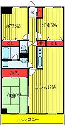 JR山手線 大塚駅 徒歩9分の賃貸マンション 2階3LDKの間取り