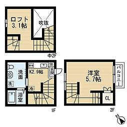 愛知県名古屋市緑区鳴海町字平部の賃貸アパートの間取り