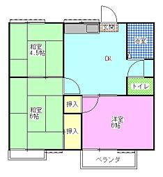 レピュート斉藤B[1階]の間取り