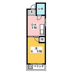 ハイツ岩崎 3階1DKの間取り