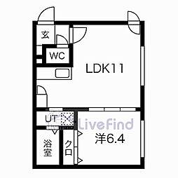 札幌市営東豊線 美園駅 徒歩8分の賃貸マンション 1階1LDKの間取り