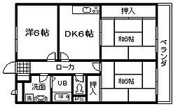 南海線 尾崎駅 徒歩7分の賃貸マンション 2階3DKの間取り