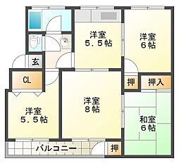 神陵台西住宅61号棟[3階]の間取り